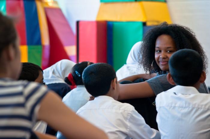 Abimaro with the children at Canon Barnett