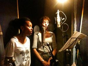 Rachel Louis and Zoe Palmer in the studio